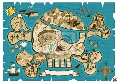 How much fun to have a treasure map mural in the shape of a skull and cross bones in a pirate themed room!