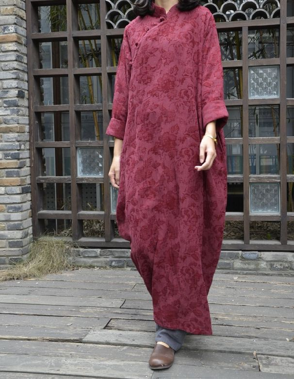 Women cotton linen loose fitting spring and autumn maxi dress - Buykud -
