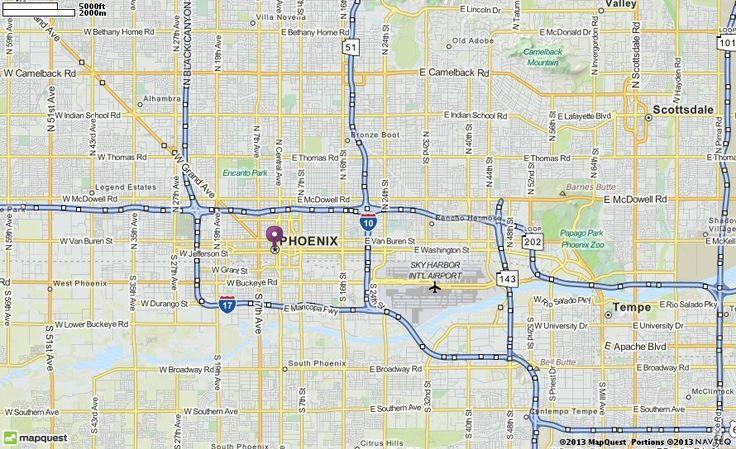 Map of Phoenix AZ | Phoenix Arizona Hotels, Restaurants, Airports | MapQuest