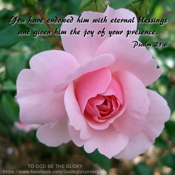 PSALM  21:6 - You have endowed him with eternal blessings and given him the joy of your presence.