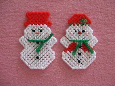 Mr. & Mrs. Muñeco de Nieve Navidad Con Solapa clavijas lona de plástico hecho a mano