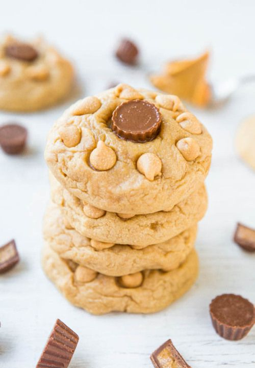 ilovedessert:  Soft and Chewy Triple Peanut Butter Cookies