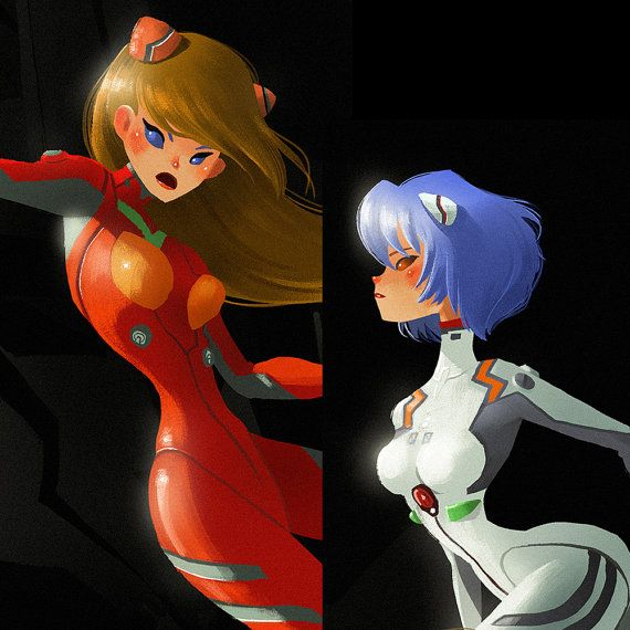 "Evangelion Fan Art Digital Print, Asuka and Rei, 10""X 8"" and 7""X 5"" Available Great as Gift and Wall Decoration"