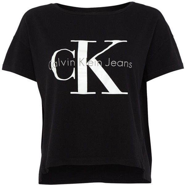 Calvin Klein Short sleeve reissue crop square cut tee featuring polyvore, fashion, clothing, tops, t-shirts, t shirt, black, women, crew neck t shirt, crew neck tee, crewneck tee, black top and black crew neck tee