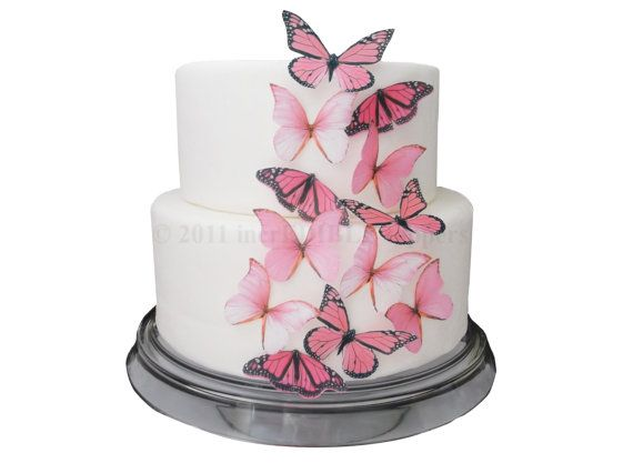 CAKE DECORATIONS - Edible Butterflies 12 Large Pink - Cake Topper, Cake Supply Store, Edible Toppers, Edible Cake Decoration on Etsy, $9.45