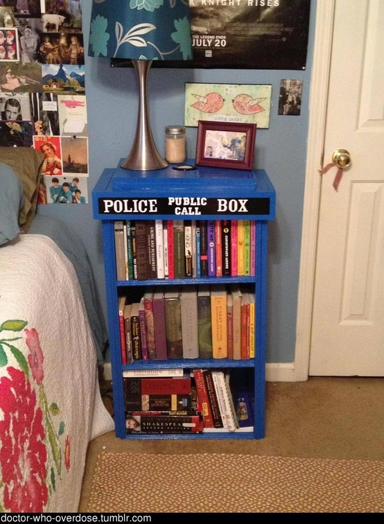 Homemade TARDIS bookcase and there ar harry potter books in it :)