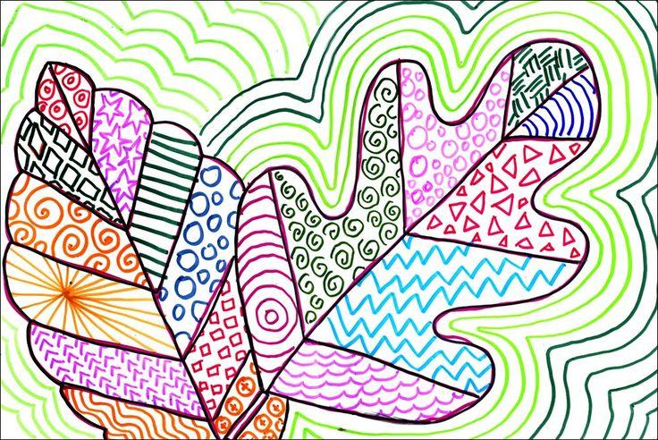 Leaves Art Project for Kids | Ziggity Zoom leaf line art