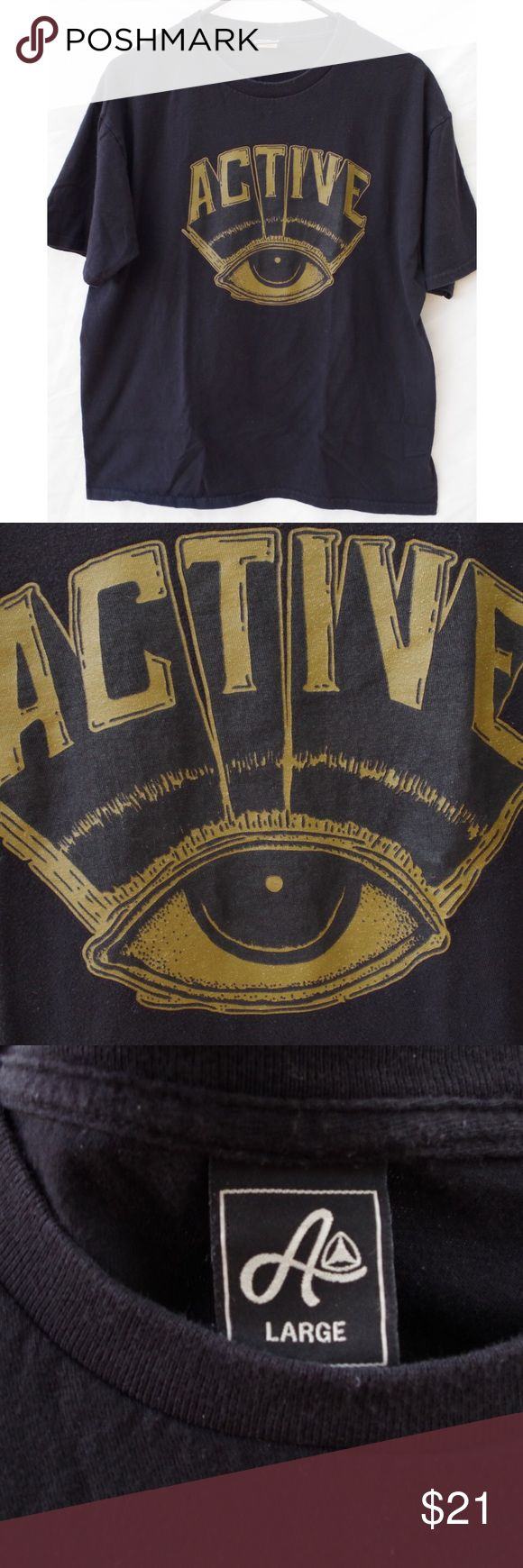 Active Skate Third Eye Gold Graphic T-shirt Active brand. Size large. Black t-shirt with golden eye logo on front. Good condition light wear no significant flaws. FREE SURPRISE GIFT WITH EVERY ORDER SAME DAY SHIPPING PRICE NEGOTIABLE, willing to sell for $17 elsewhere! Tops Tees - Short Sleeve