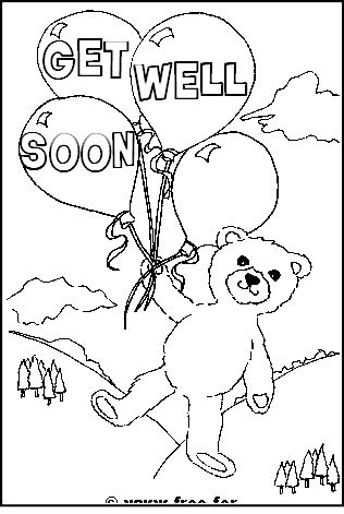 teddy bear with get well soon message - Get Pages For Free