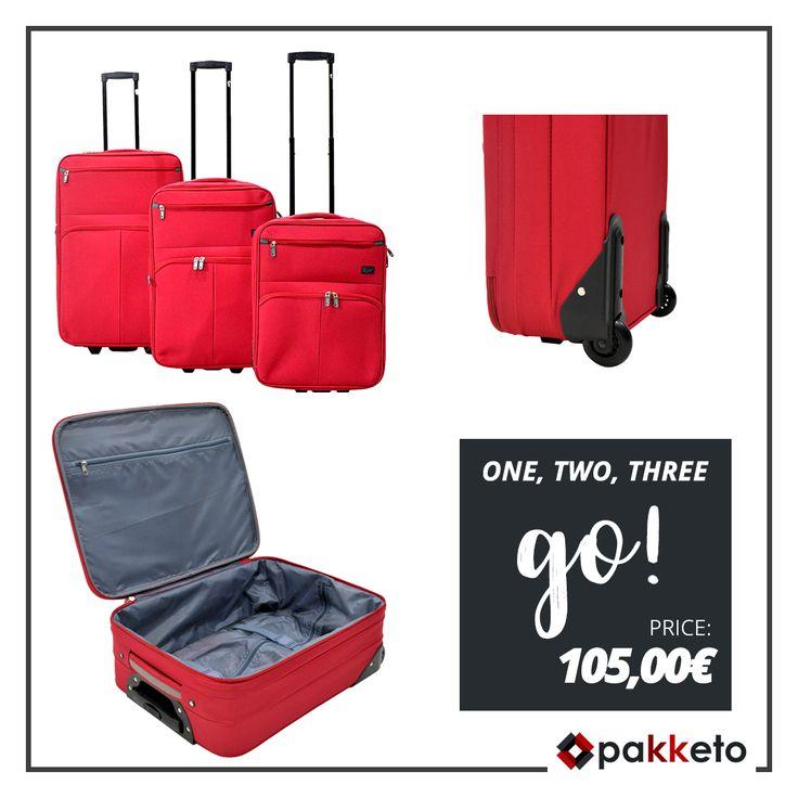 Ταξιδάκι; Έτοιμοι! Χωράμε όλα τα απαραίτητα στο σετ 3 τεμαχίων βαλίτσες #pakketo στο must χρώμα της σεζόν –το κόκκινο- και φύγαμε! Απόκτησέ το σε super χαμηλή τιμή εδώ http://bit.ly/pakketo_Valitses