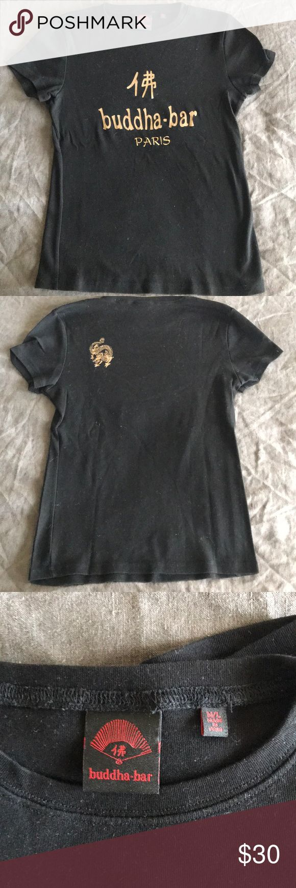 Buddha Bar Paris T-Shirt Black stretchy cotton T-shirt, washed but never worn. Purchased in Paris. Size tag says M-L but fits XS best. Tops Tees - Short Sleeve