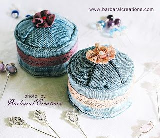 Barbaral Creations Recycled jeans pincushion with hand dyed lace. #jeans #diy #pincushion #denim #reuse #recycle