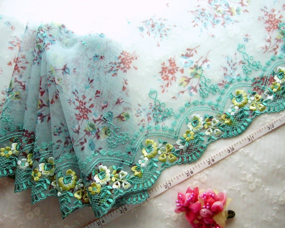 Blue lace Embroidered lace trim Embroidered tulle by raincrazy133, $7.99