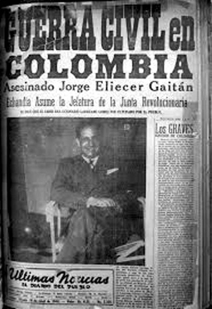 Bogotazo - escalada de violência iniciada com o assassinato do candidato a presidente Jorge Eliécer Gaitán em 9 de abril de 1948 no centro de Bogotá, (Colômbia), durante o governo do Presidente Mariano Ospina Pérez,