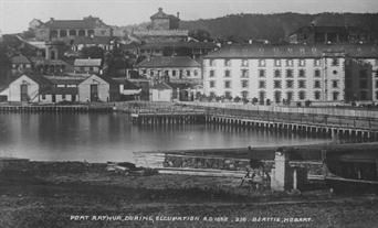 Historic photograph of Port Arthur, the Tasmanian convict site, circa 1850s. Convict life at Port Arthur. Australian History.