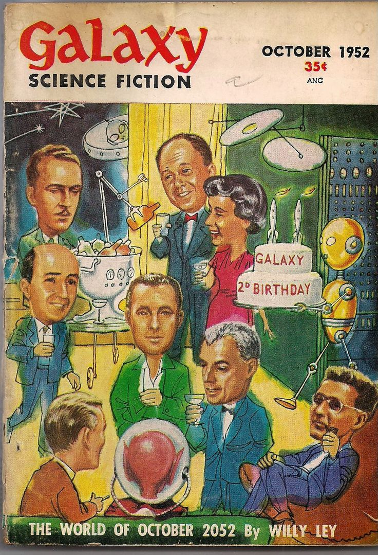 The   below wraparound cover painting by Ed Emsh (Emshwiller) portrays an imaginary 1952  party held on the second year anniversary...