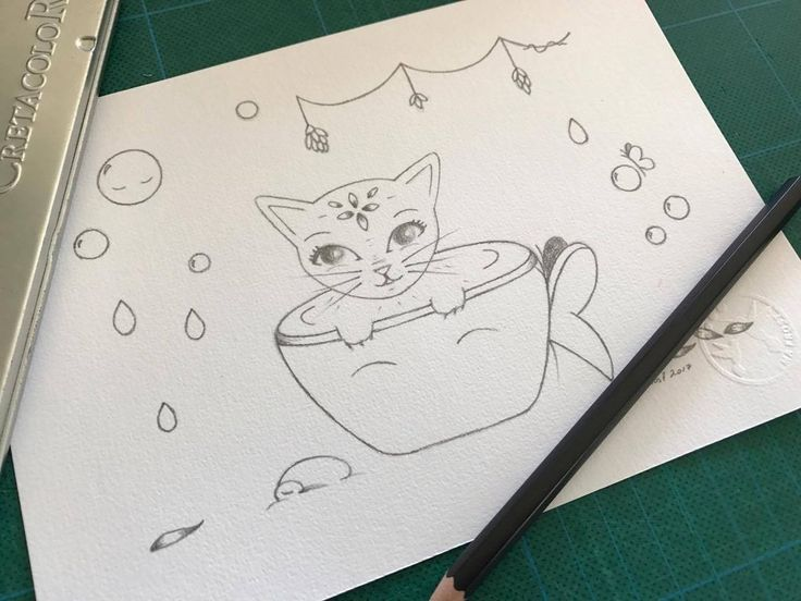 Frost Sketch Project #18 - Kitty & the Butterfly Teacup