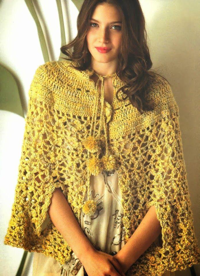Poncho Capa Aberturas para Manos Patron - Patrones Crochet