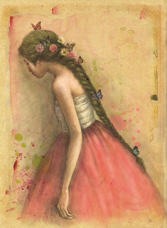 Spring Illustration of young girl in Korean by CogitoBonaKim, $25.00