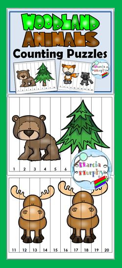 Free Counting Puzzles - Woodland Animals Theme
