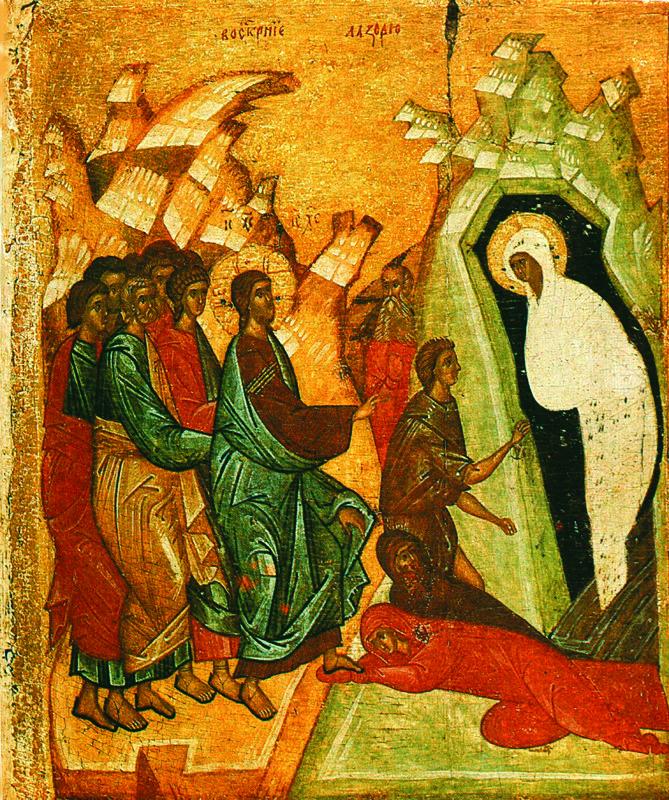 Начало XIV в. Четырехчастная икона. Клеймо.   Воскрешение Лазаря.