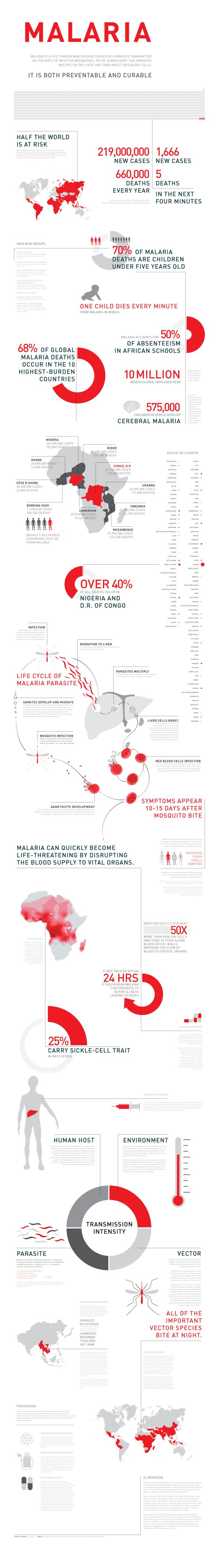 Malaria Infographic by Lily Campbell, via Behance. Shows how much more severe and condensed the disease is in regions of Africa.