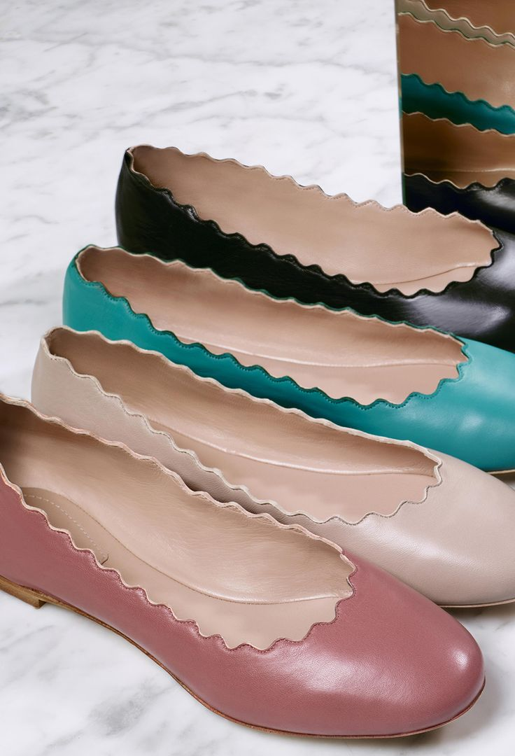 Add a touch of colour to your gifts with scalloped Lauren ballerinas from Chloé