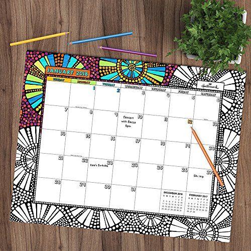 2018 Academic Year Color Me by Hallmark Desk Blotter July 2017-June 2018