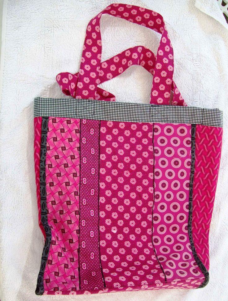 Pink Shweshwe patchwork bag September 2015 for Paula