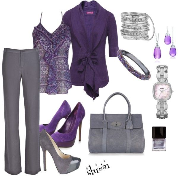 """Purple and Grey"" by slmon on Polyvore"