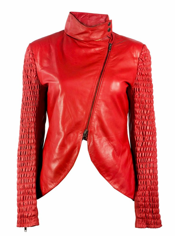 Soft leather red color women jacket
