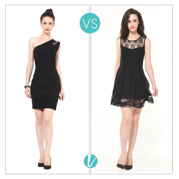 Little Black Dresses are a favourite with all of us! Take your Pick between these two, this Holiday Season! Shop them by Product Code: (Left - 115381, Right - 115014). #lbd #littleblackdress #blackdress #dress #premium #besiva #vilara
