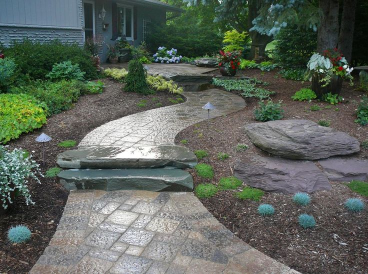 Paver Walkway Design Ideas like the pattern of the walkway This Combination Of Natural Stone And Paver Stone Brings A Unique Charm To This Walkway Walkway Designswalkway Ideaspatio