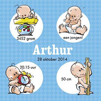 Een grappig geboortekaartje voor een jongen. Welkom grapjas!