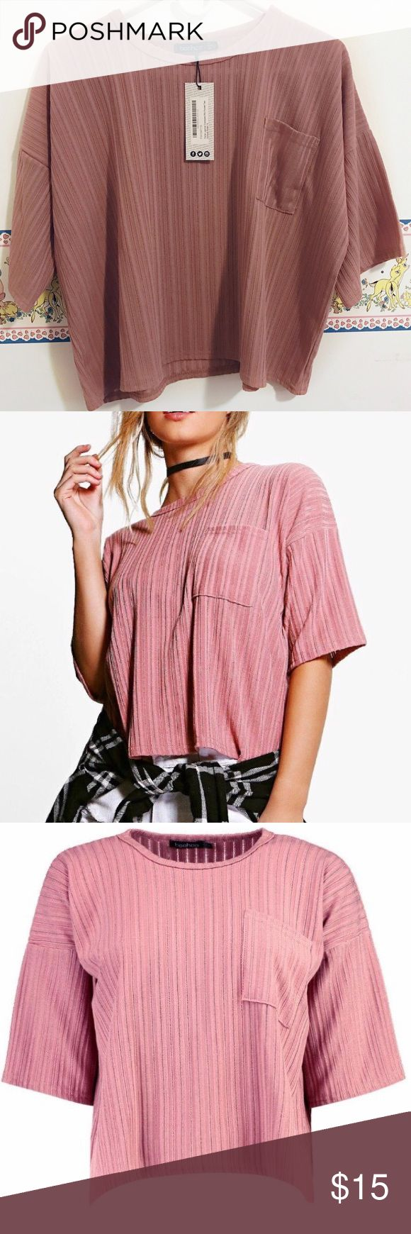 """Oversized Slouchy Ribbed Top 🌷beautiful dusty pink shade. comes from the petite line of boohoo so it might fit more cropped on a taller person, i'm 5'3 and it hit in the same place as in the picture, around the belly button.  🌷new with tags; small hole right on top of the pocket 🌷approximations: length 20"""", bust 48"""", has a little stretch. Boohoo Tops"""