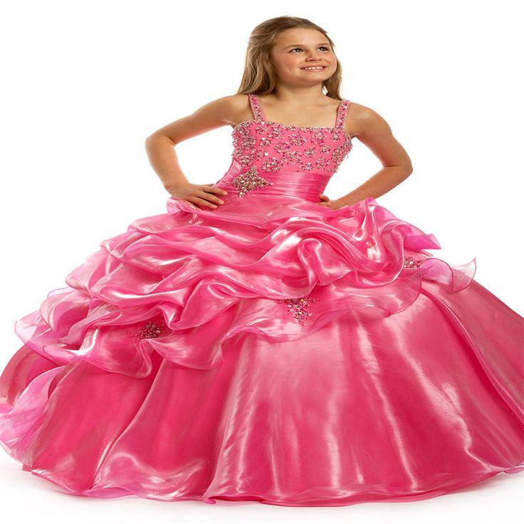 Hot Pink Straps Long Little Girls Pageant Dresses Beading Ball Gowns Kids Children Princess Party Dress