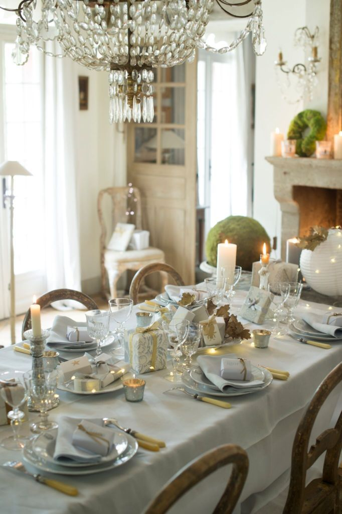 Christmas Table Laid In Gold And Grey