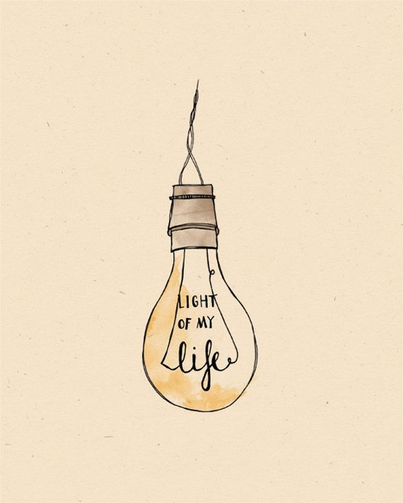 Light of my Life LIGHT BULB Illustration Print by AnAprilIdea, $19.00