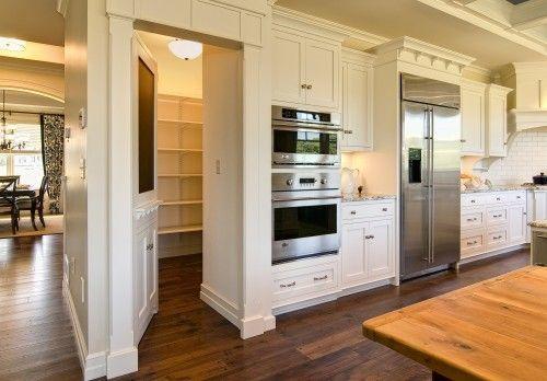 Walk-in Pantry behind appliance wall.: Walks In Pantries, Dreams Kitchens, Dreams Houses, Hidden Pantries, Kitchens Wall, Hidden Doors, Kitchens Pantries, White Kitchens, Pantries Doors