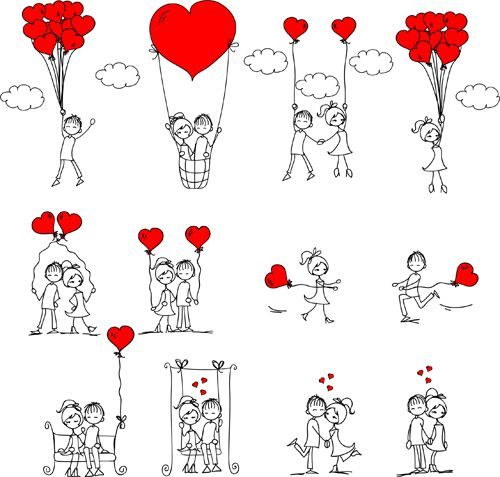 Hand drawn Romantic Love people vector