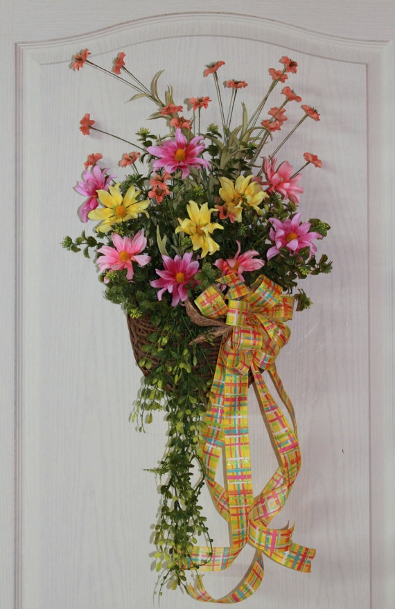 17 best images about door basket on pinterest wall Spring flower arrangements for front door