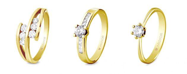 El diamante, el mejor amigo de una novia. Anillos de compromiso en oro amarillo con diamantes.