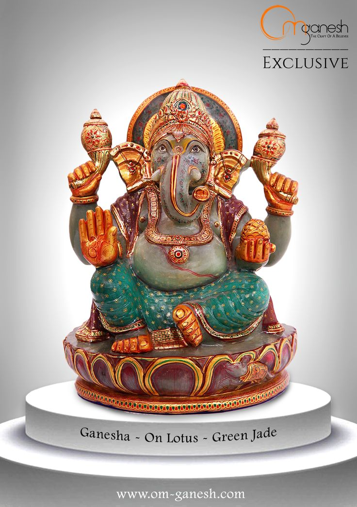 Lord Ganesha will enhance memory and concentration, with this powerful Green Jade idol by Om Ganesh Crafts.#Lord #Ganesha #Enhance #Memory #Concentration #GreenJade #Gemstone #Auspicious #Exclusive #OmGaneshCrafts