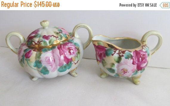SALE Antique Victorian Tea Set Sugar and Creamer Victorian