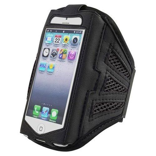 cool Urban Runner Cycling Running Jogging Fitness Training Exercise Sports Gym iPhone 5, 5S, 5C Adjustable Velcro Strap Armband Case Cover Black