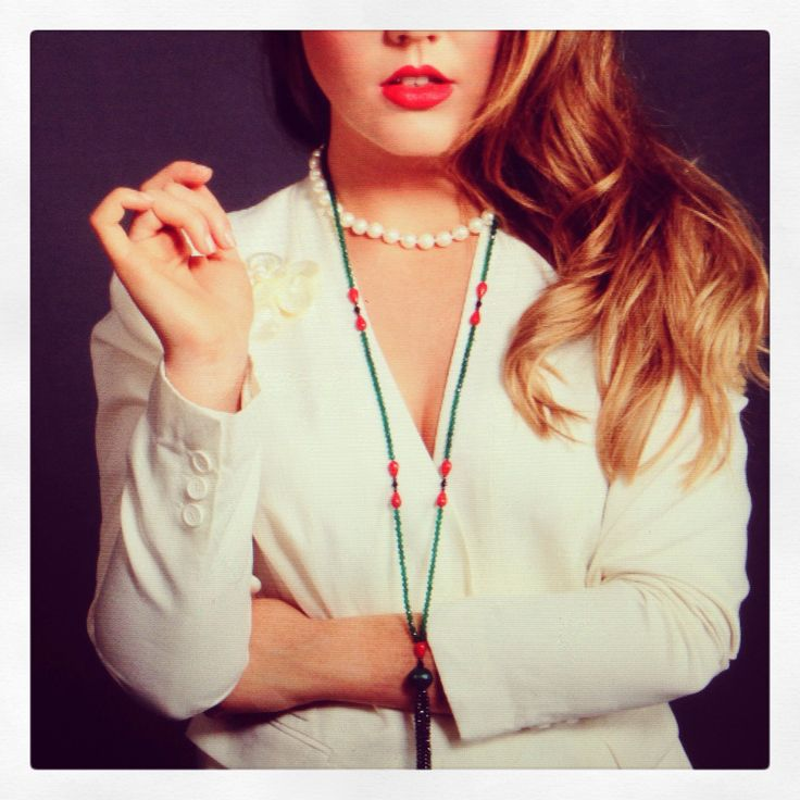 2013 collection, pearl chocker, green agate tassel necklace