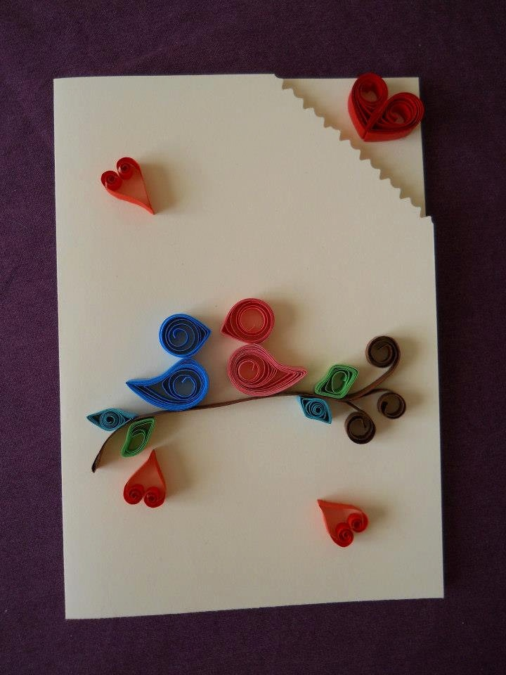 Flirting birds love hearts quilling handmade greeting for Quilling strips designs