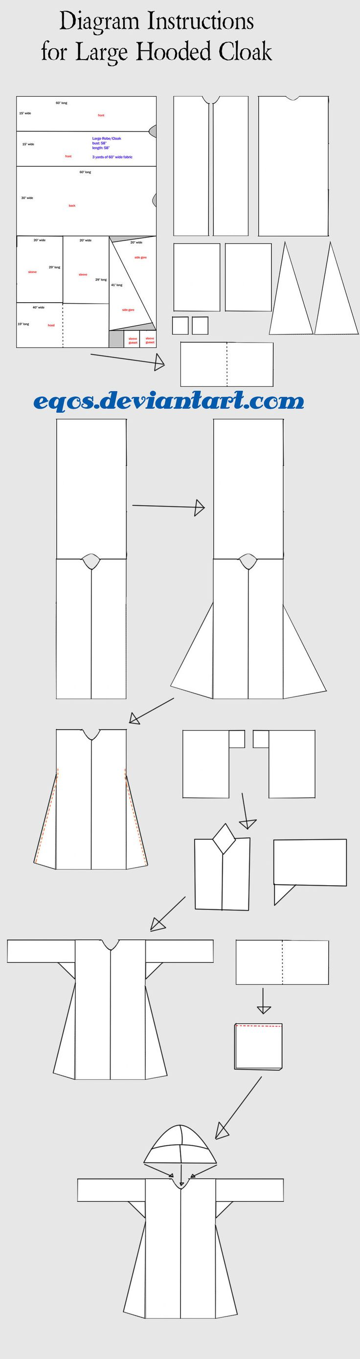 Diagram for Large Hooded Cloak by eqos.deviantart.com on @deviantART