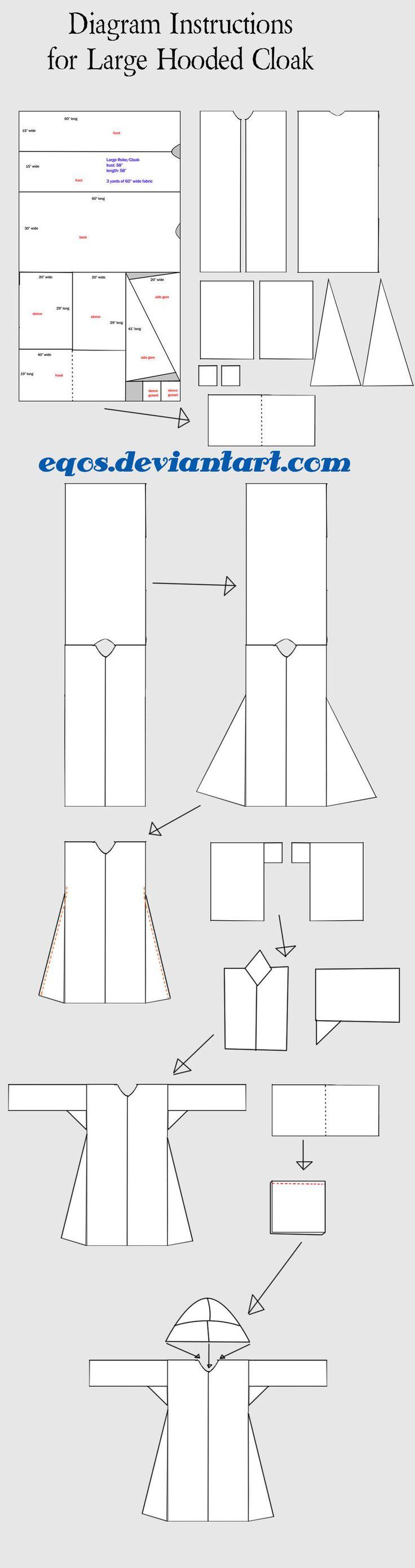 Diagram for Large Hooded Cloak by eqos.deviantart.com on @deviantART