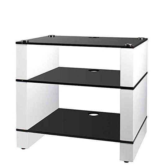 HiFi Ständer, HiFi Rack, AV Audio stehen, und Weiß glänzend mit drei Ablagen aus schwarzem Glas